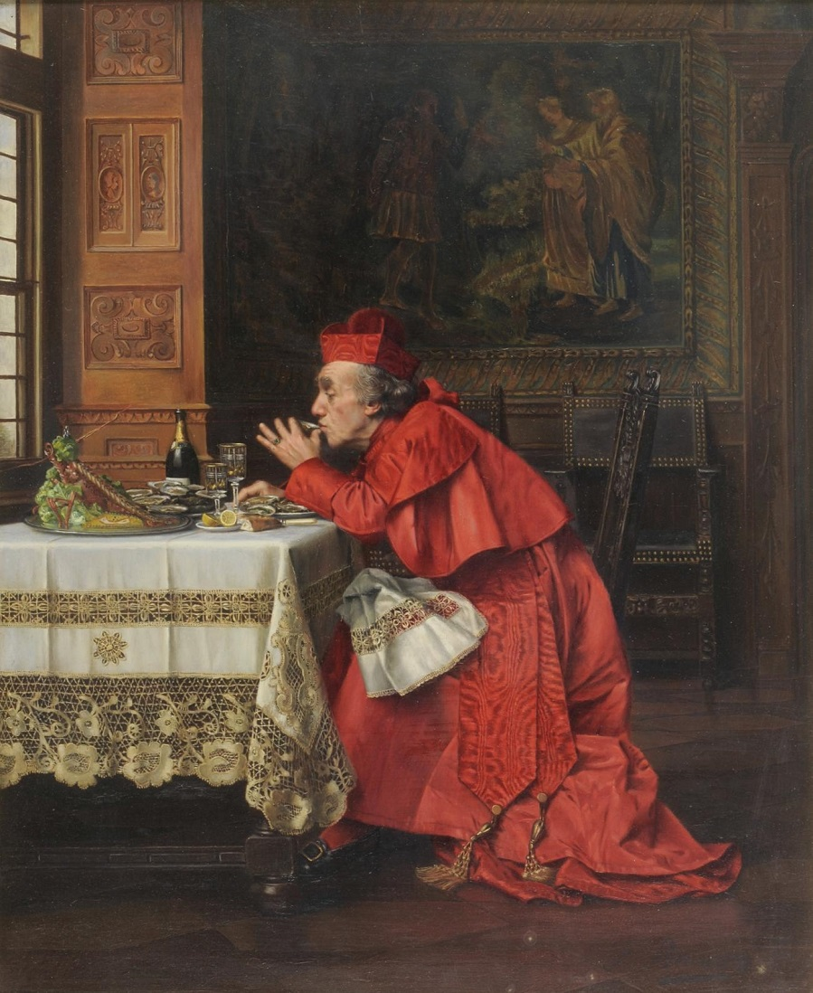 Interior-scene-with-a-Cardinal-eating-oysters-and-drinking-champagne.jpg